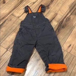 Fleece lined kids overalls